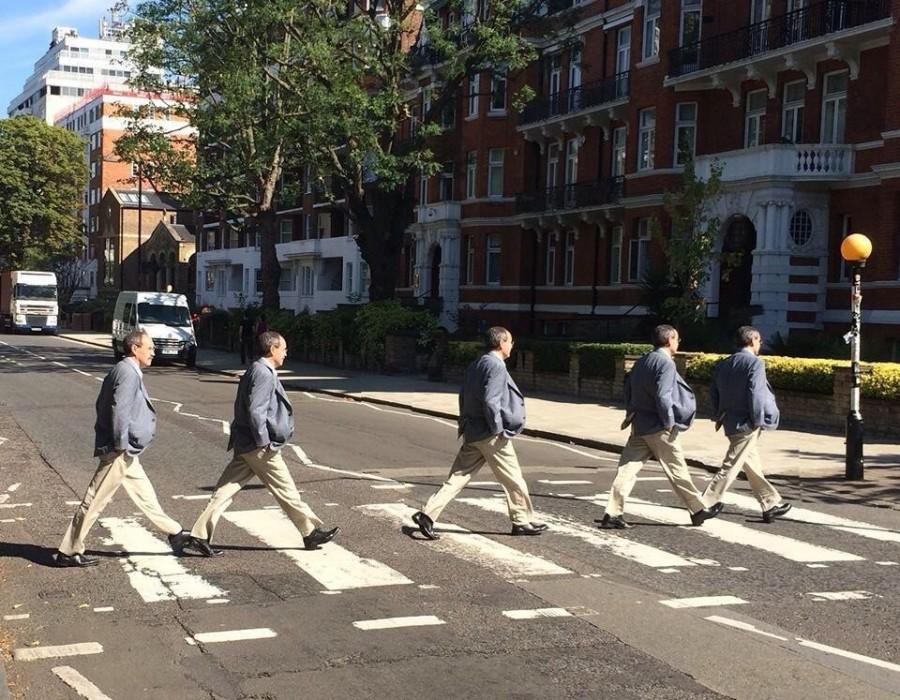 Crossing Abbey Road in London.