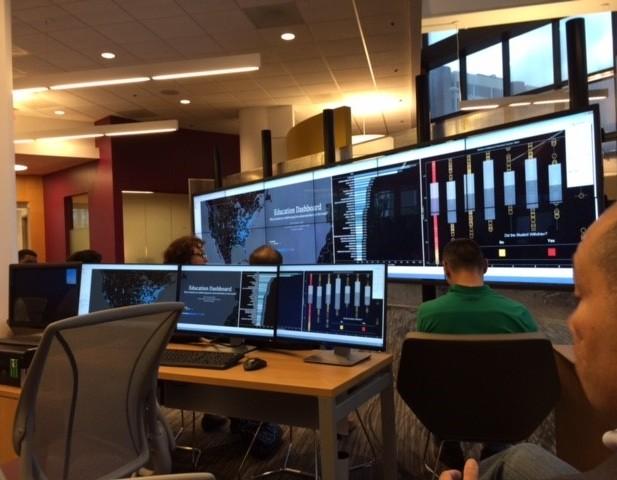 """Talk at GSU. 12 55"""" plasma screens."""