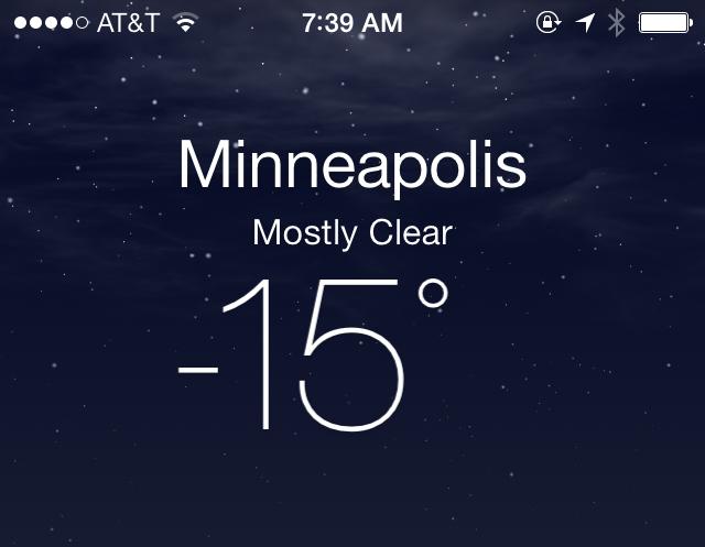Minneapolis temperature during my talk.