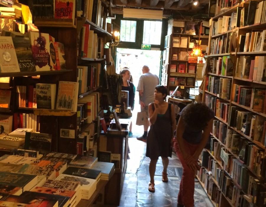Inside Shakespeare & Co. in Paris.